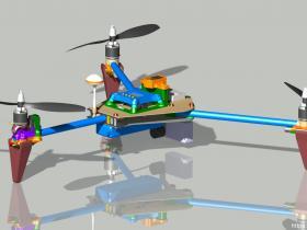 660mm三轴旋翼无人机模型3D图纸 STP格式