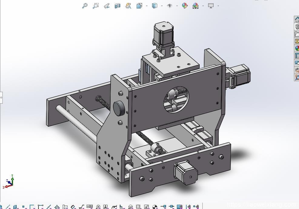 机床设备加工模组_雕刻机总体3D模型_STEP格式