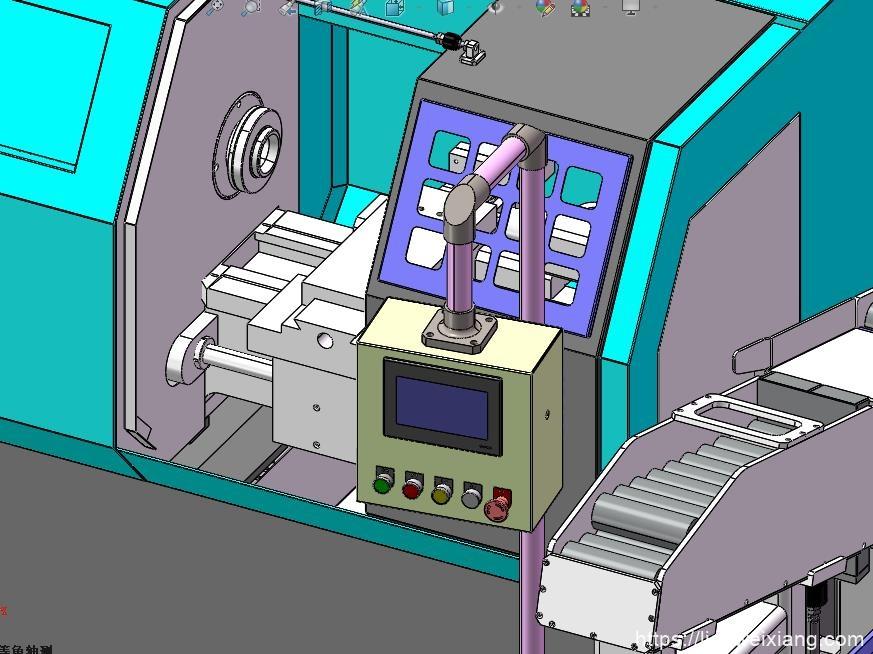 机床上下料流程3D模型图附带STEP-SLDPRT装配体