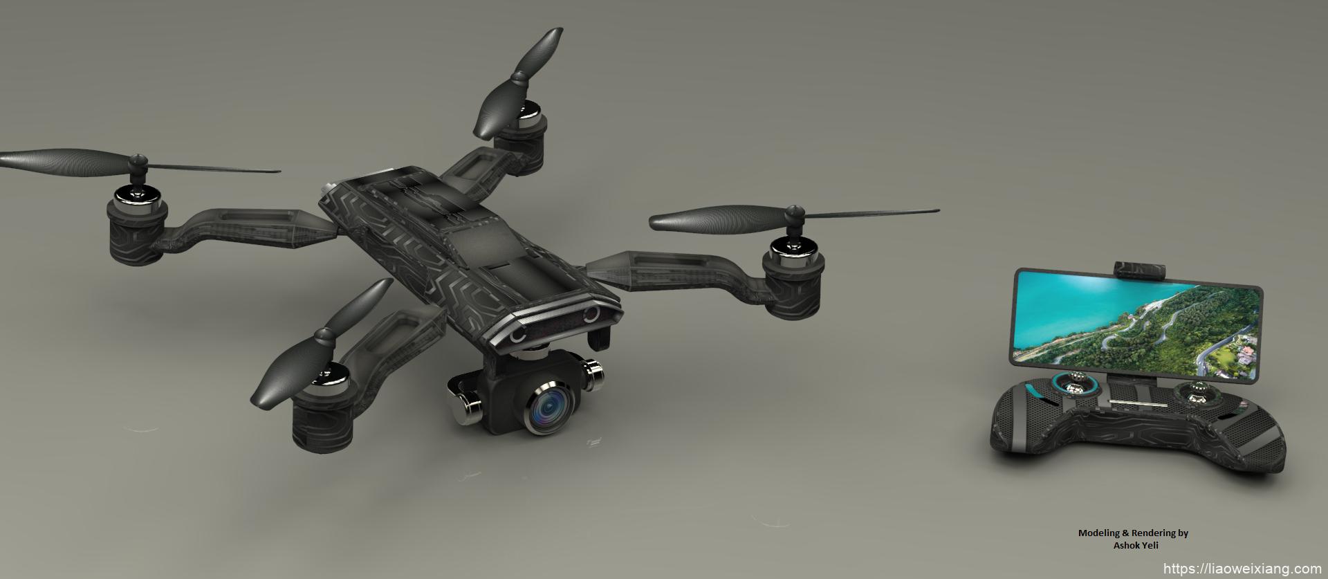 Falcon Cam四轴航拍无人机造型3D图纸 STP格式